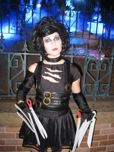 "Shauna as ""Miss Scissorhands"" outside the Haunted Mansion"